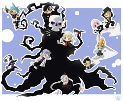 ソウルイーター、死神様、マカ、キッド、ブラック☆スター