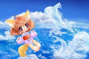 狐耳っ娘と雲イルカ